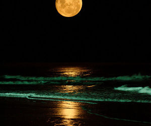 beautiful, moon, and sea image