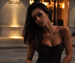 beauty, black dress, and boobs image