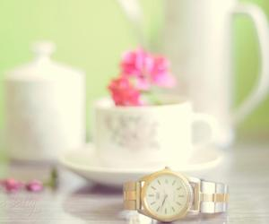 clock, coffe, and tea image
