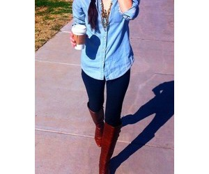 boots, brown boots, and denim image