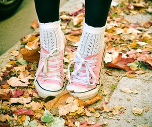 pink, autumn, and converse image