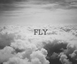 black and white, clouds, and fly image