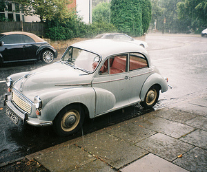 car, vintage, and rain image
