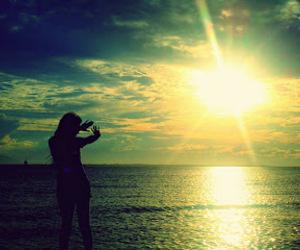 girl, sky, and sun image