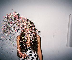 girl, confetti, and glitter image