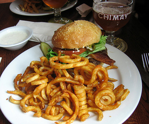 food, burger, and curly fries image