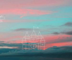 sky, castle, and unicorn image