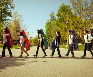 abbey road, cello, and colorful image