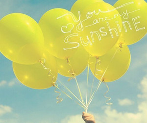 balloons, sunshine, and yellow image