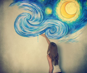 blue, starry night, and van gogh image