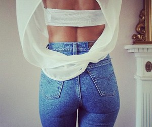 ass, jeans, and white image