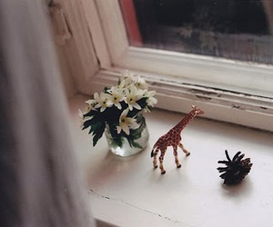 giraffe, flowers, and vintage image