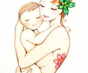 baby, mom, and mermaid image