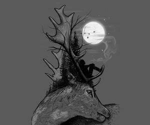 b&w, illustration, and night image