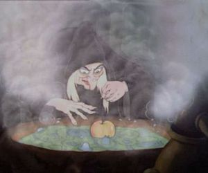 witch, apple, and snow white image