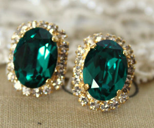 crystal, earrings, and emerald green image