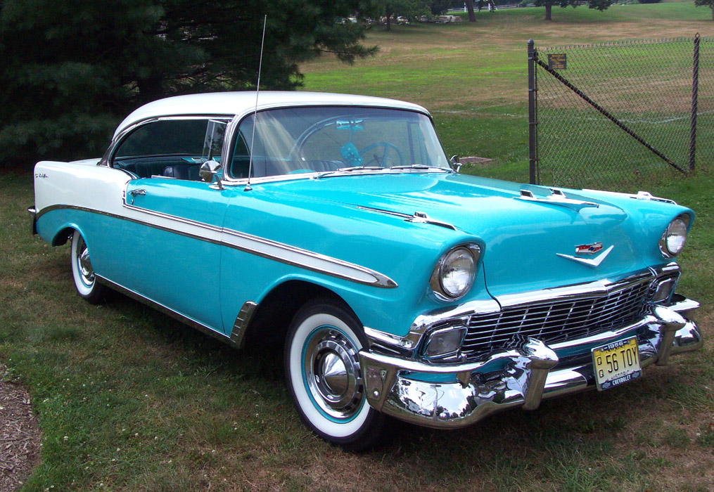 Old Car Values >> 1956 Chevrolet Bel Air Hardtop Blue White On We Heart It