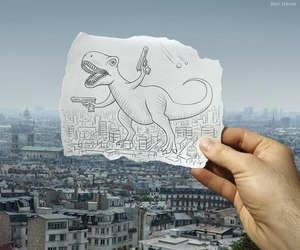 dinosaur, city, and drawing image