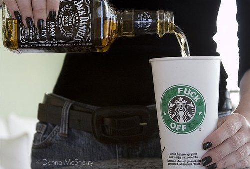 starbucks, jack daniels, and fuck off image