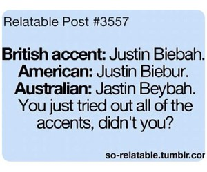 funny, accent, and justin bieber image