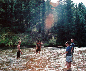 boy, friends, and river image