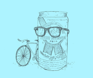 hipster, beer, and drawing image