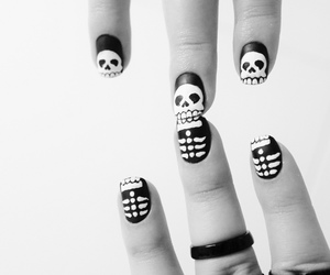 nails, black and white, and skull image