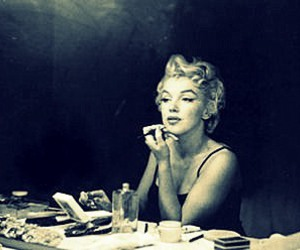 Marilyn Monroe, black and white, and makeup image