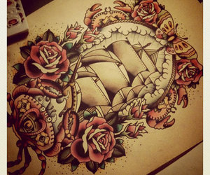 tattoo, rose, and ship image