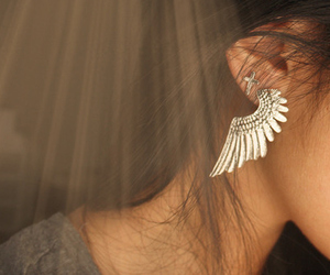 cross, earring, and fashion image