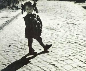black and white, street, and girl image