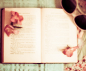 book, pink, and sunglasses image