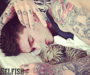 boy, cat, and ink image