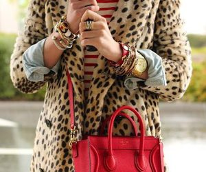 style, leopard coat, and red bag image