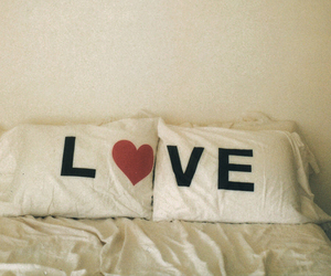 love, bed, and pillow image