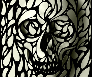 skull, art, and black and white image