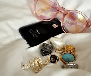 iphone, rings, and glasses image