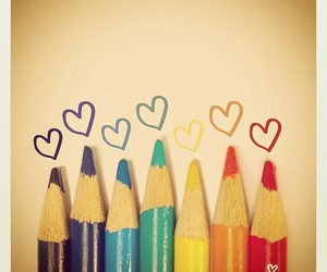color, hearts, and colored pencils image