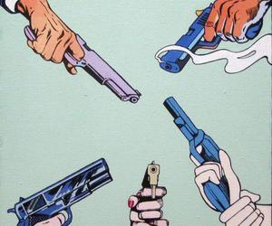 gun, art, and hands image