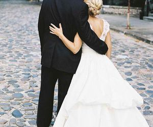 beautiful, bride, and groom image