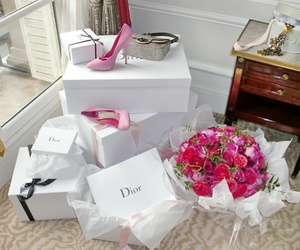 dior, flowers, and shoes image