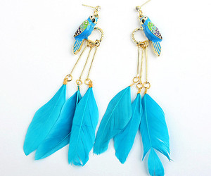 blue, feather, and earrings image