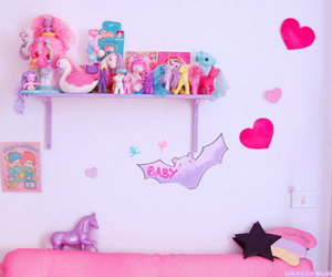 cute, pink, and room image