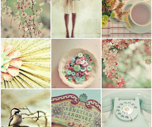 birds, buttons, and flowers image