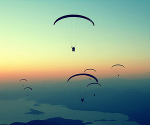 sky, fly, and sunset image
