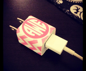 charger, iphone, and monogram image
