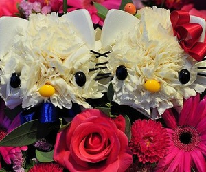flowers, cute, and hello kitty image