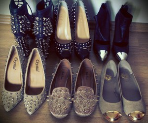 black, heels, and loafers image