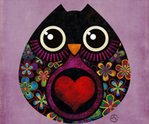 owl, art, and heart image