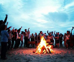 beach, campfire, and christian image